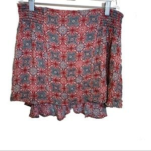Free People Red Print Mini Skirt Size Medium